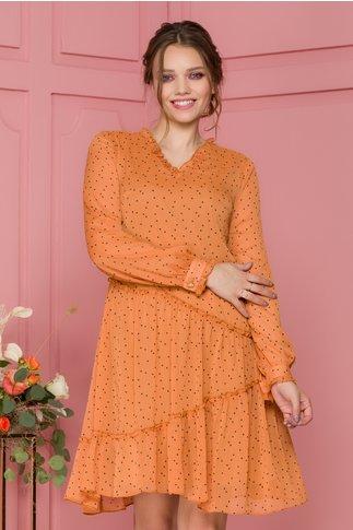Rochie Magie din voal orange cu buline negre