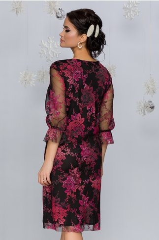 Rochie Magie neagra cu imprimeu floral roz