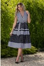 Rochie Malina alba cu dungi negre si imprimeu floral