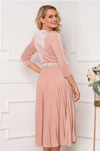 Rochie Malina roz pudra cu lurex si fusta plisata