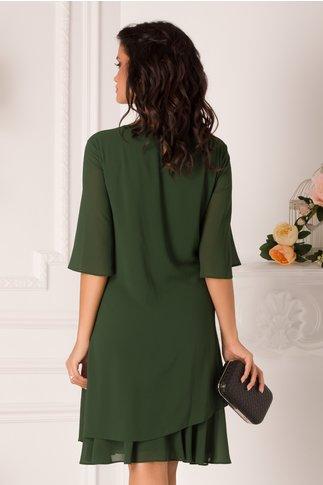Rochie Malina verde inchis cu voal petrecut si broderie la bust