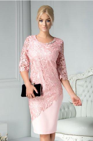 Rochie Malvina roz de ocazie din dantela