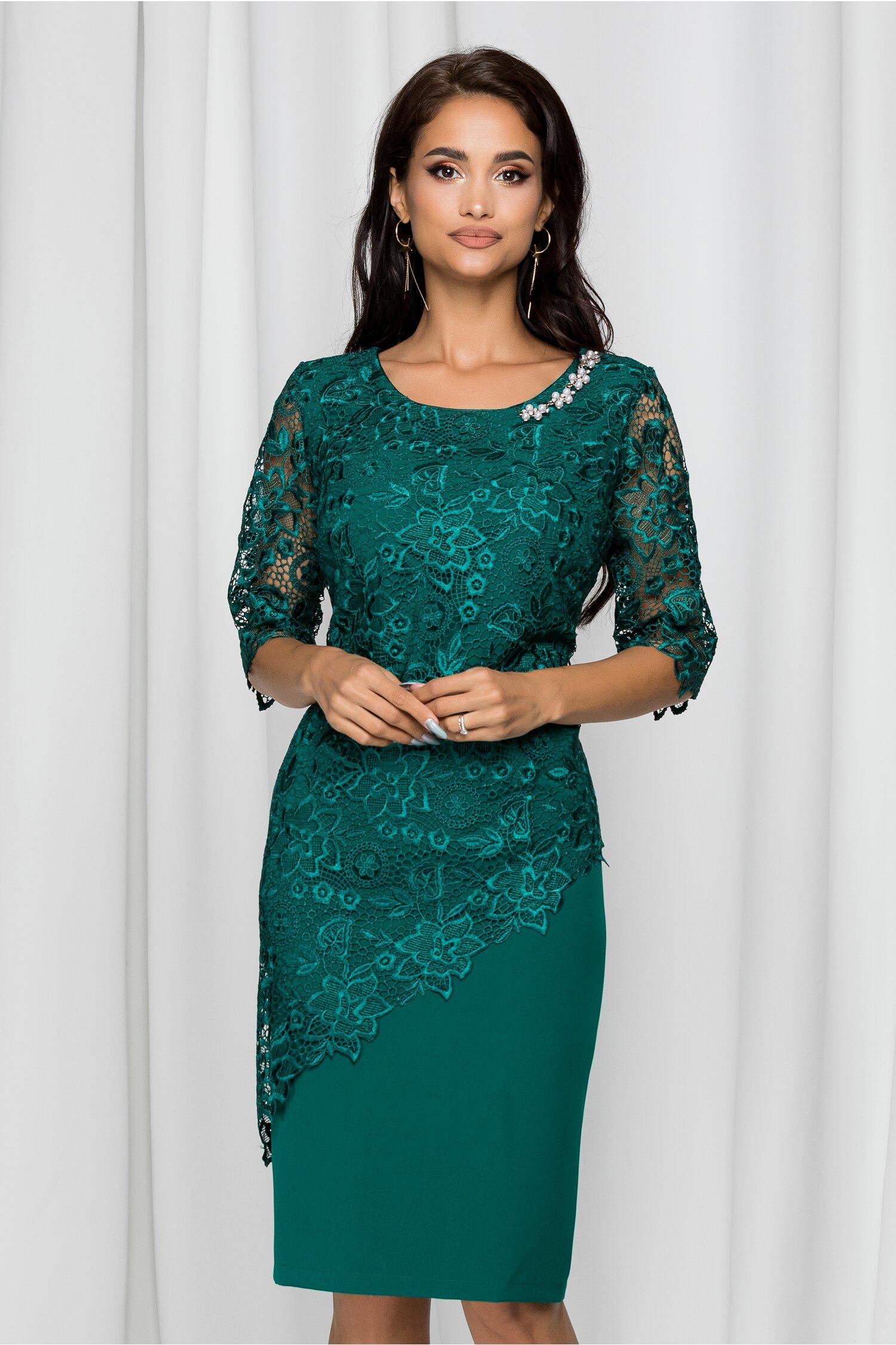 Rochie Malvina verde din dantela