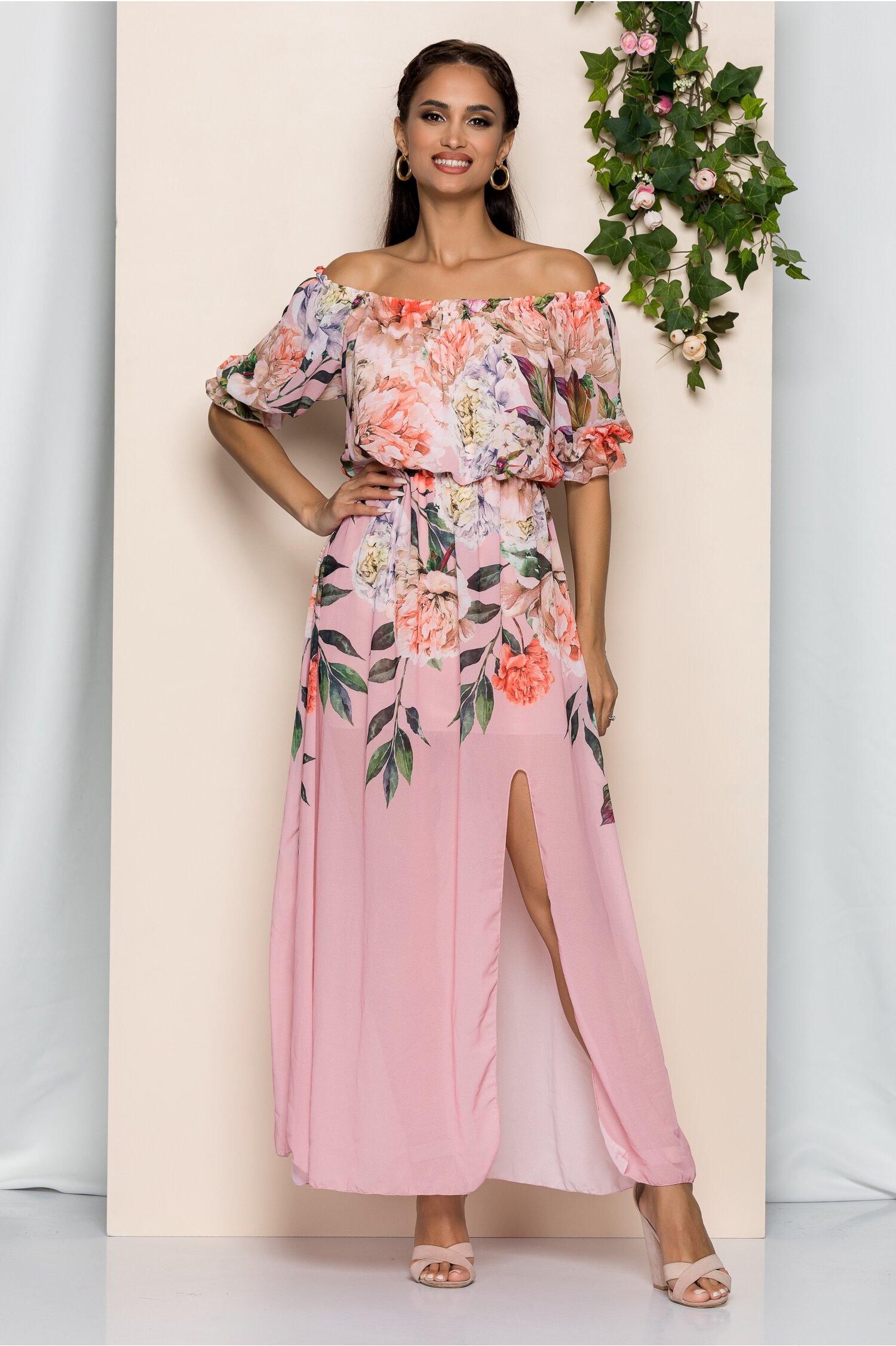 Rochie Manisha roz cu imprimeu floral si elastic la umeri
