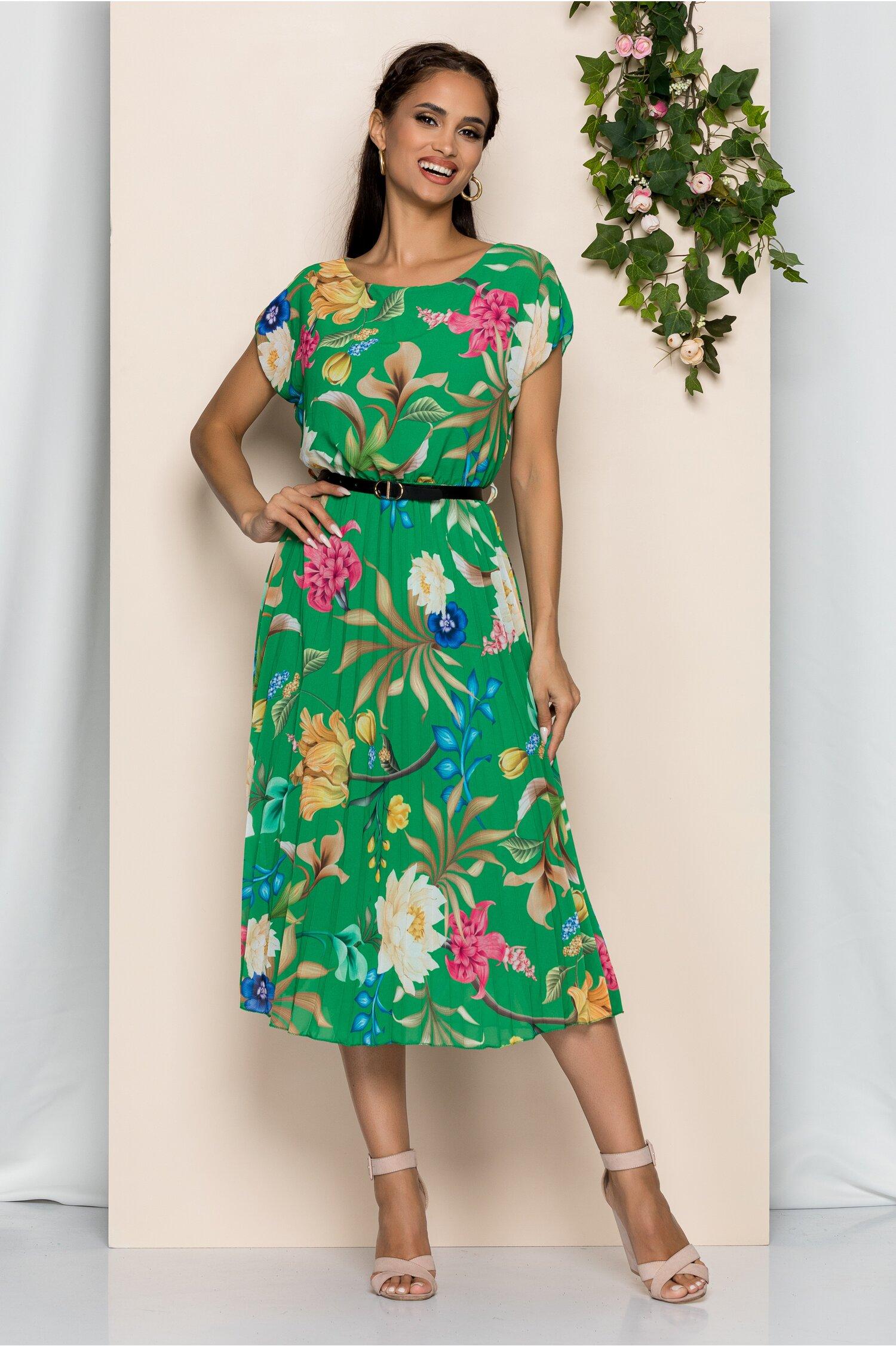 Rochie Manuela verde cu imprimeu floral si pliuri pe fusta
