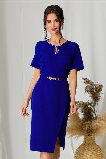 Rochie Mara albastra cu fusta petrecuta