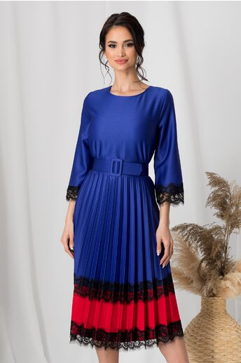 Rochie Mara albastra cu rosu la baza si dantela chantilly