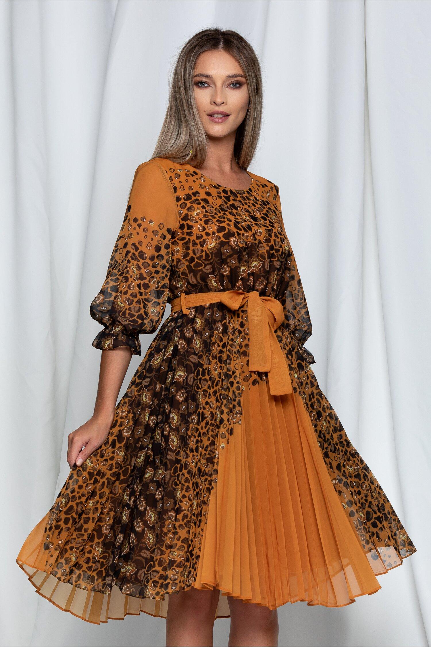 Rochie Mara din voal galben mustar cu imprimeuri maro