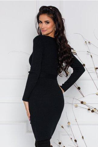 Rochie Mara neagra din tricot reiat cu nasturi si cordon