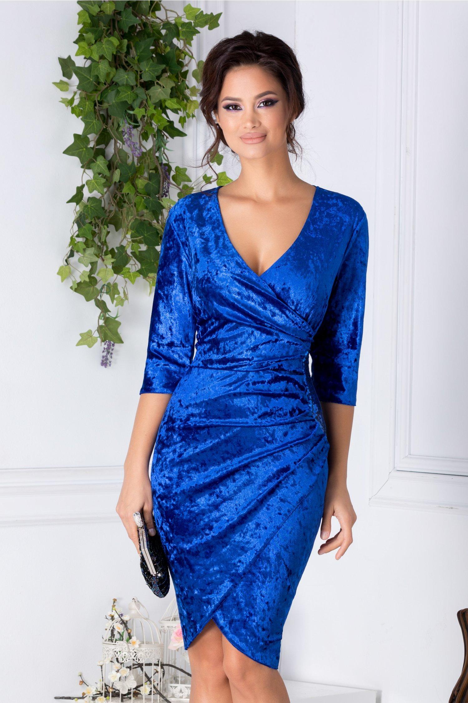 Rochie Mara albastra din catifea cu reflexii