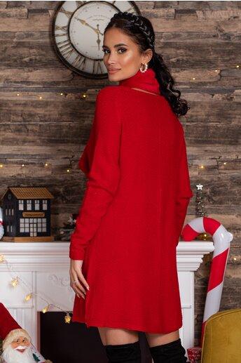 Rochie Mara rosie scurta din tricot cu accesoriu tip fular