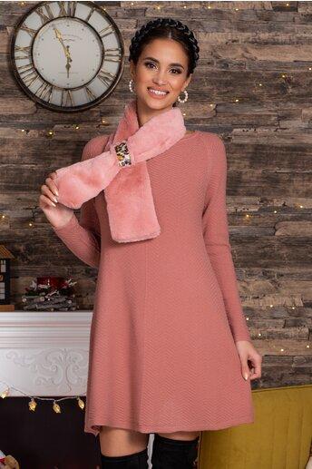 Rochie Mara roz scurta din tricot cu accesoriu tip fular