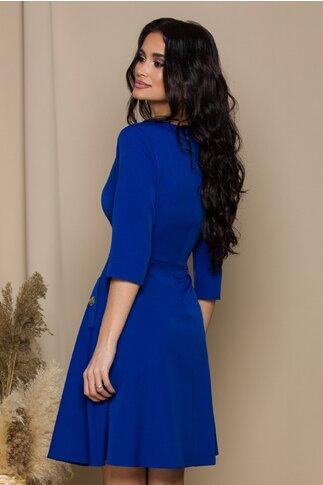 Rochie Marbelle albastra cu nasturi decorativi argintii