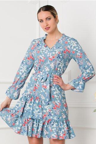Rochie Marcy bleu cu imprimeuri florale