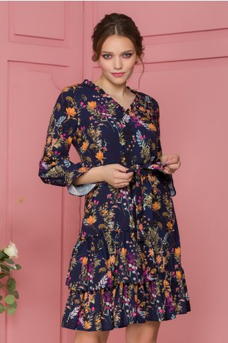 Rochie Marcy bleumarin cu imprimeu floral