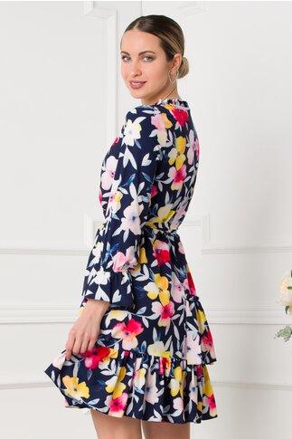 Rochie Marcy bleumarin cu imprimeuri florale in nuante de roz si galben