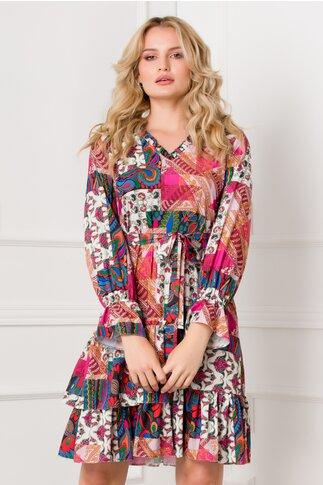Rochie Marcy cu imprimeuri multiple in nuante de roz