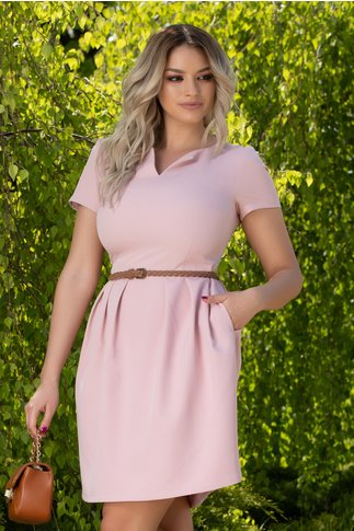 Rochie Marga roz pudrat office