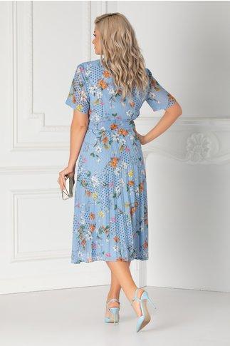 Rochie Margi bleu cu buline si imprimeu floral orange