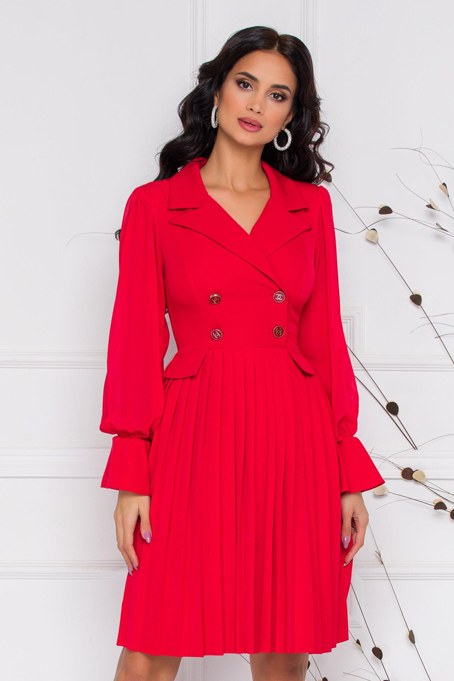 Rochie Margot rosie cu pliuri pe fusta
