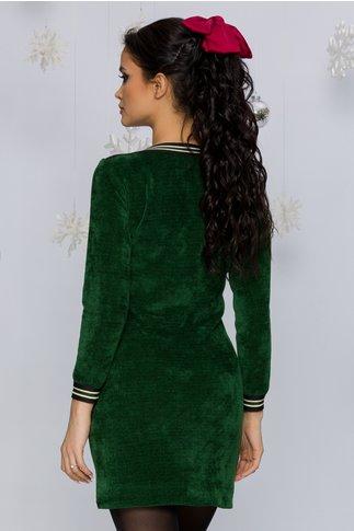 Rochie Mari verde smarald reiata cu benzi elastice decorative