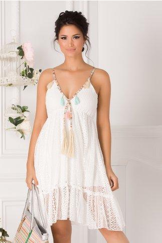 Rochie Maria alba din dantela cu bretele colorate