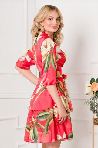 Rochie Maria rosie cu imprimeu floral si volanase la baza