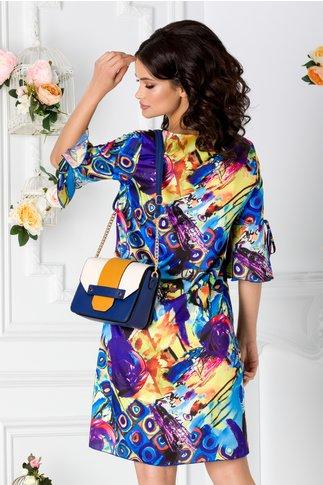 Rochie Maria vaporoasa albastra cu imprimeu divers colorat