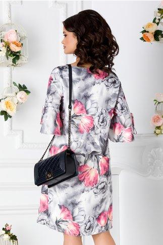 Rochie Maria vaporoasa gri cu imprimeu floral roz