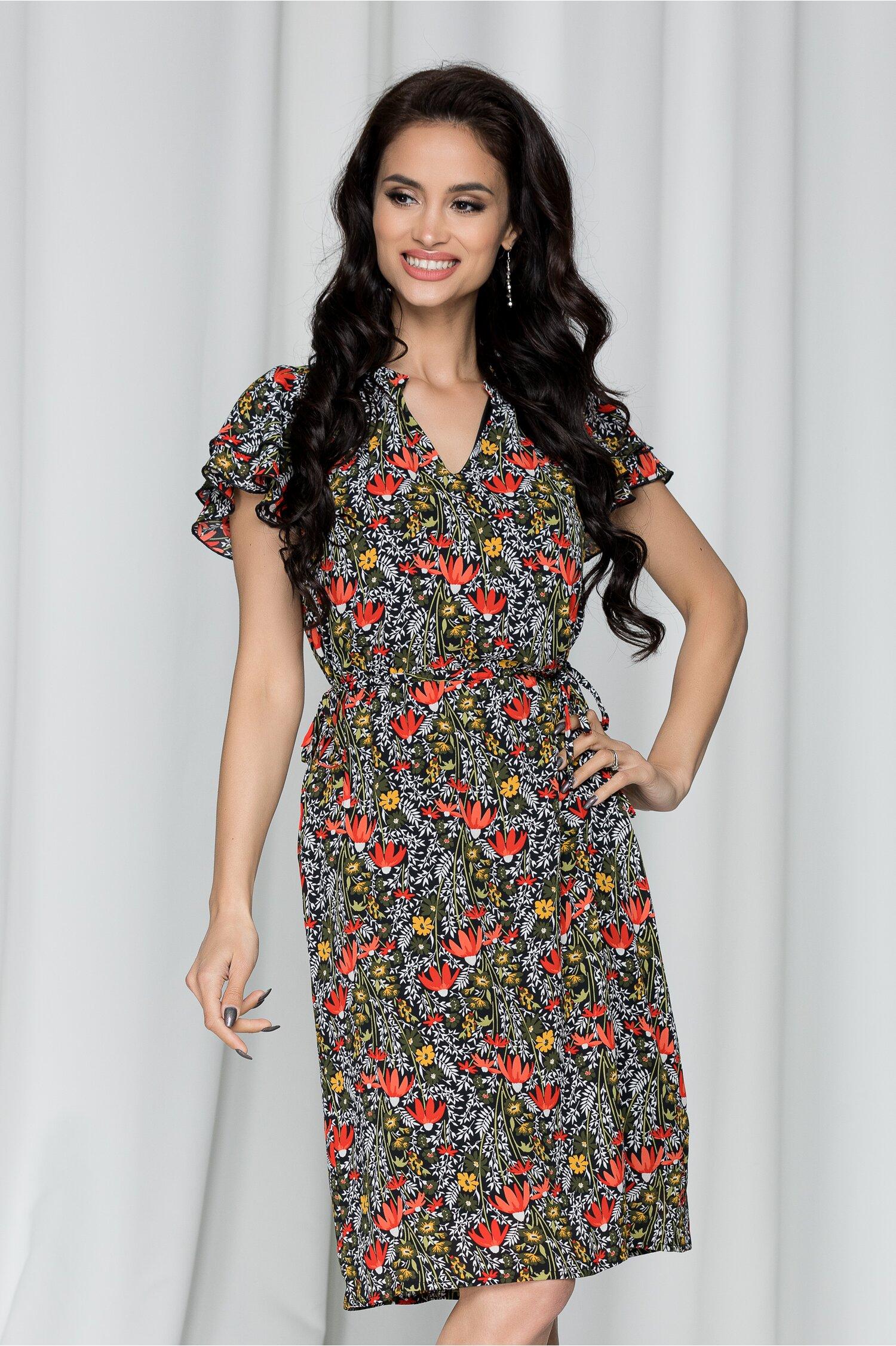 Rochie Mariana neagra cu imprimeu floral rosu-verde