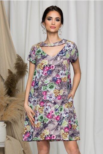Rochie Maribel evazata gri cu trandafiri colorati