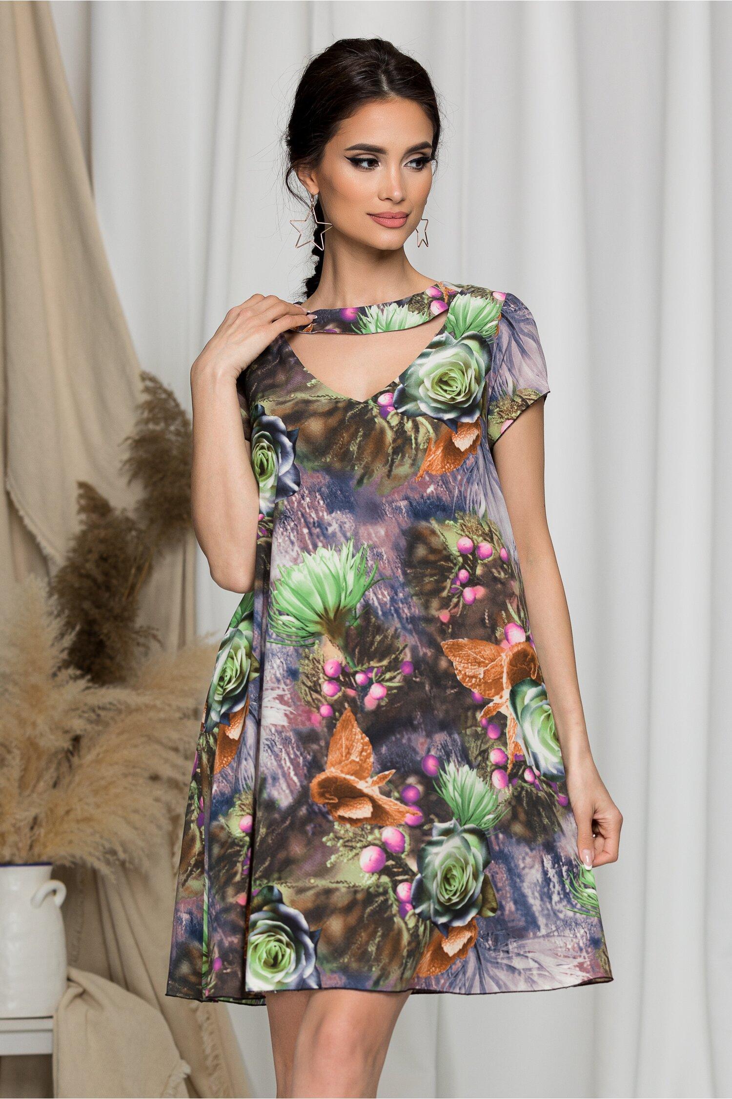 Rochie Maribel evazata lila cu imprimeuri verzi