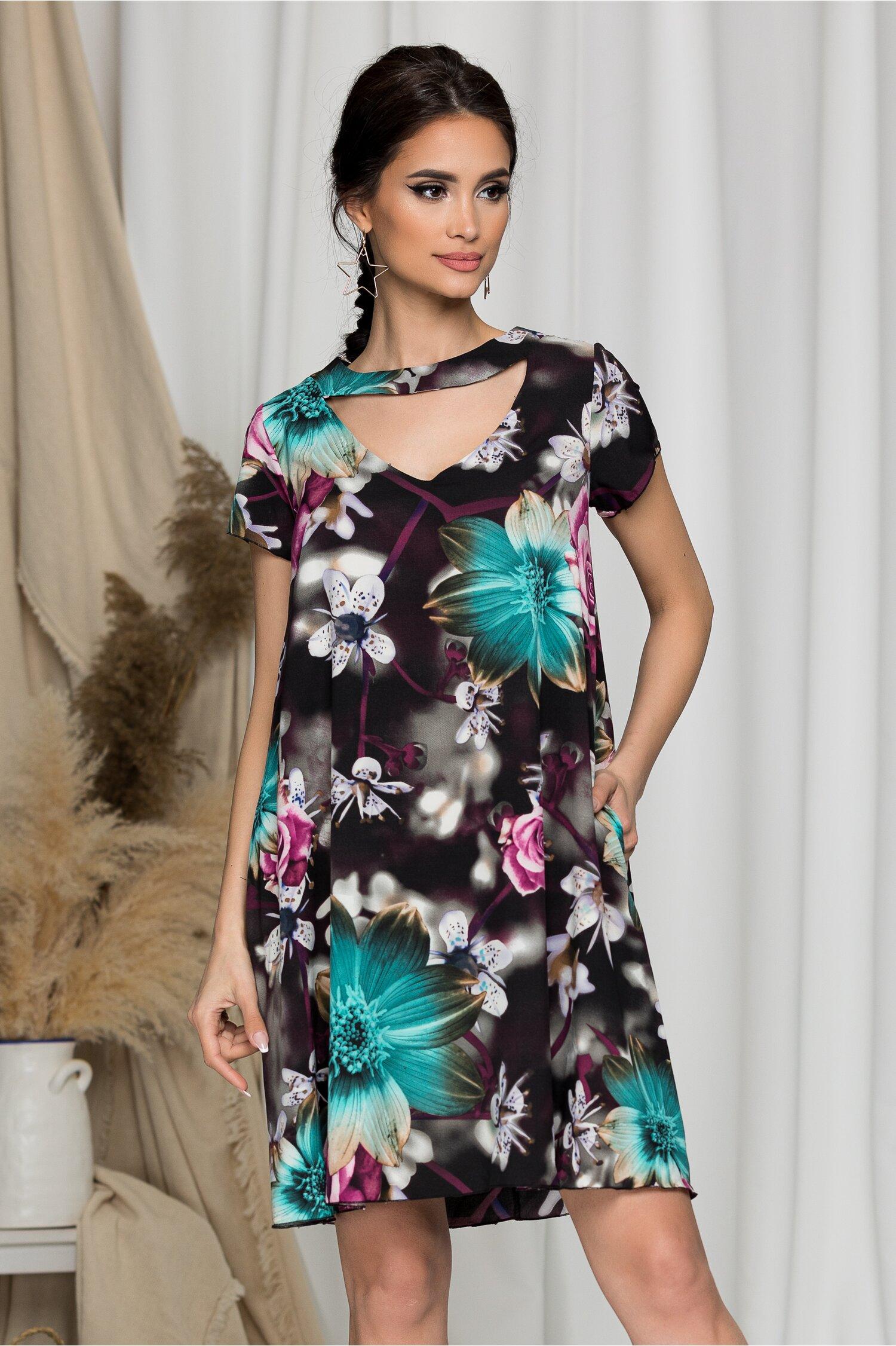 Rochie Maribel evazata neagra cu flori turcoaz si lila