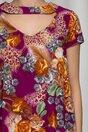 Rochie Maribel evazata violet cu imprimeuri florale caramizii