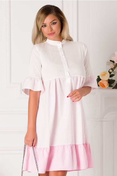 Rochie Marice alba cu dungi roz