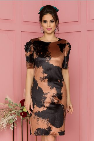 Rochie Marie din catifea cu imprimeu abstract negru-maro