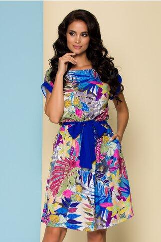 Rochie Marielle albastra cu imprimeu multicolor