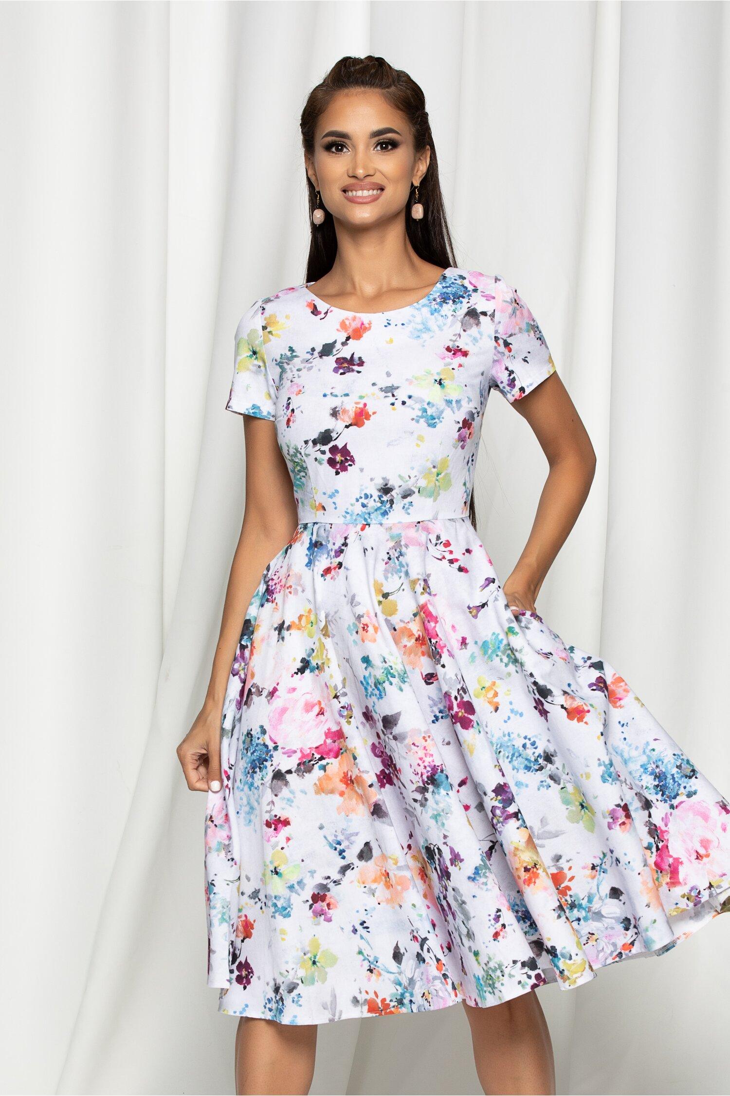 Rochie Marilena alba cu imprimeu floral si decolteu rotund