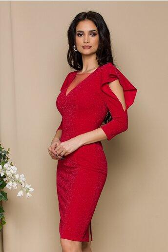 Rochie Marilu rosie cu insertii din fir lurex si volanase cu decupaj la maneci