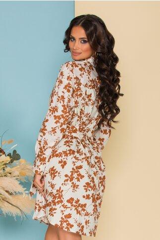 Rochie Marina alba cu imprimeuri florale maro si cordon in talie