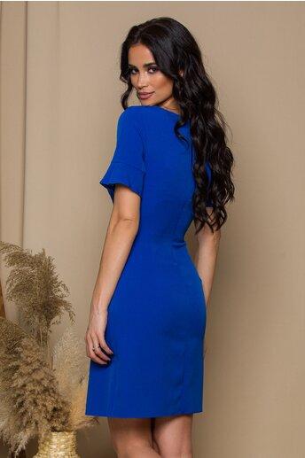 Rochie Marina albastra cu banda brodata si pliu maxi