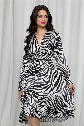 Rochie Marina cu imprimeu zebra si elastic in talie