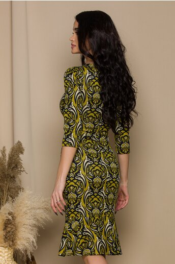 Rochie Marina galben mustar cu imprimeuri negre si volnas la baza