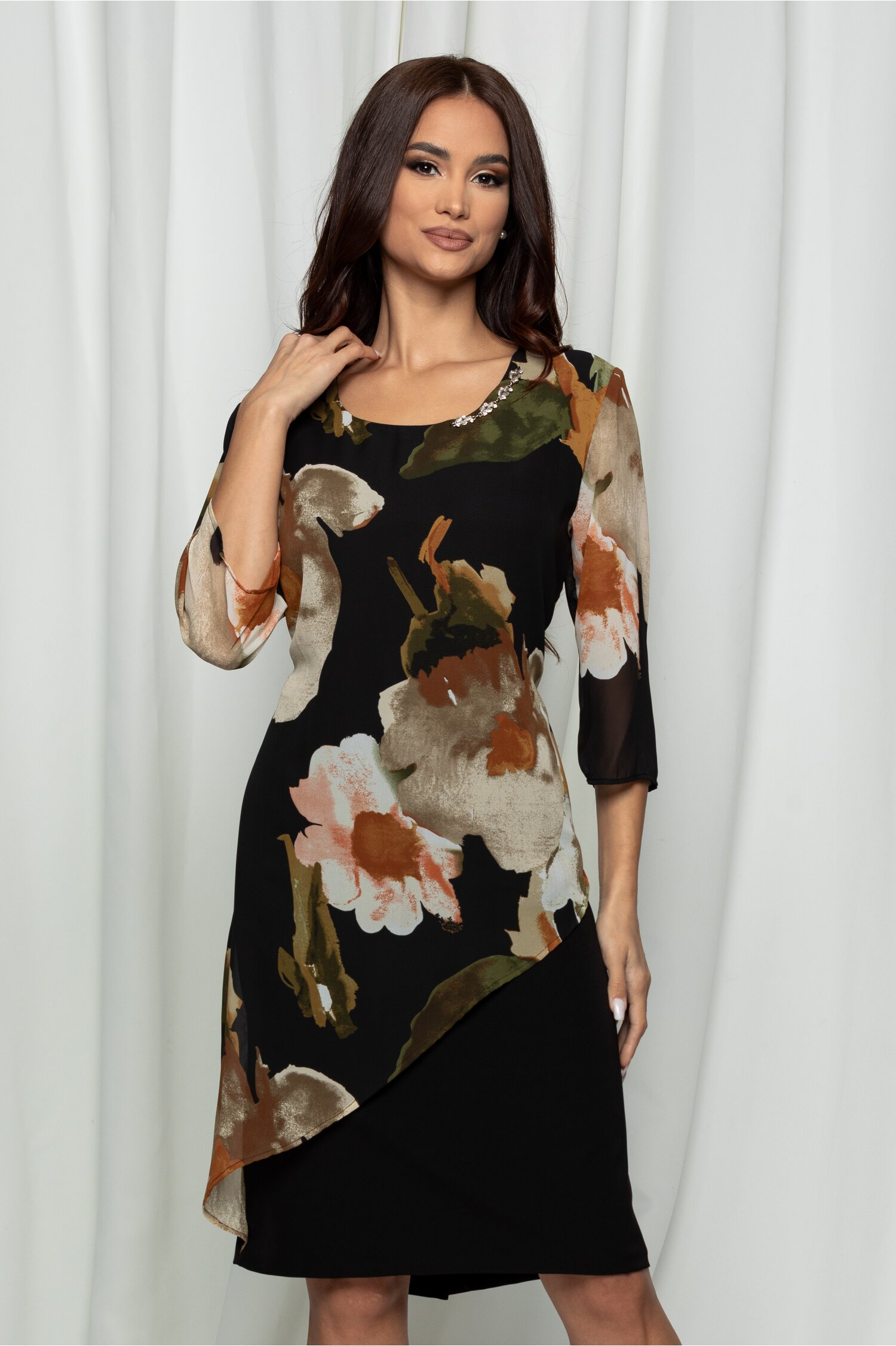 Rochie Marina neagra cu imprimeu floral maro