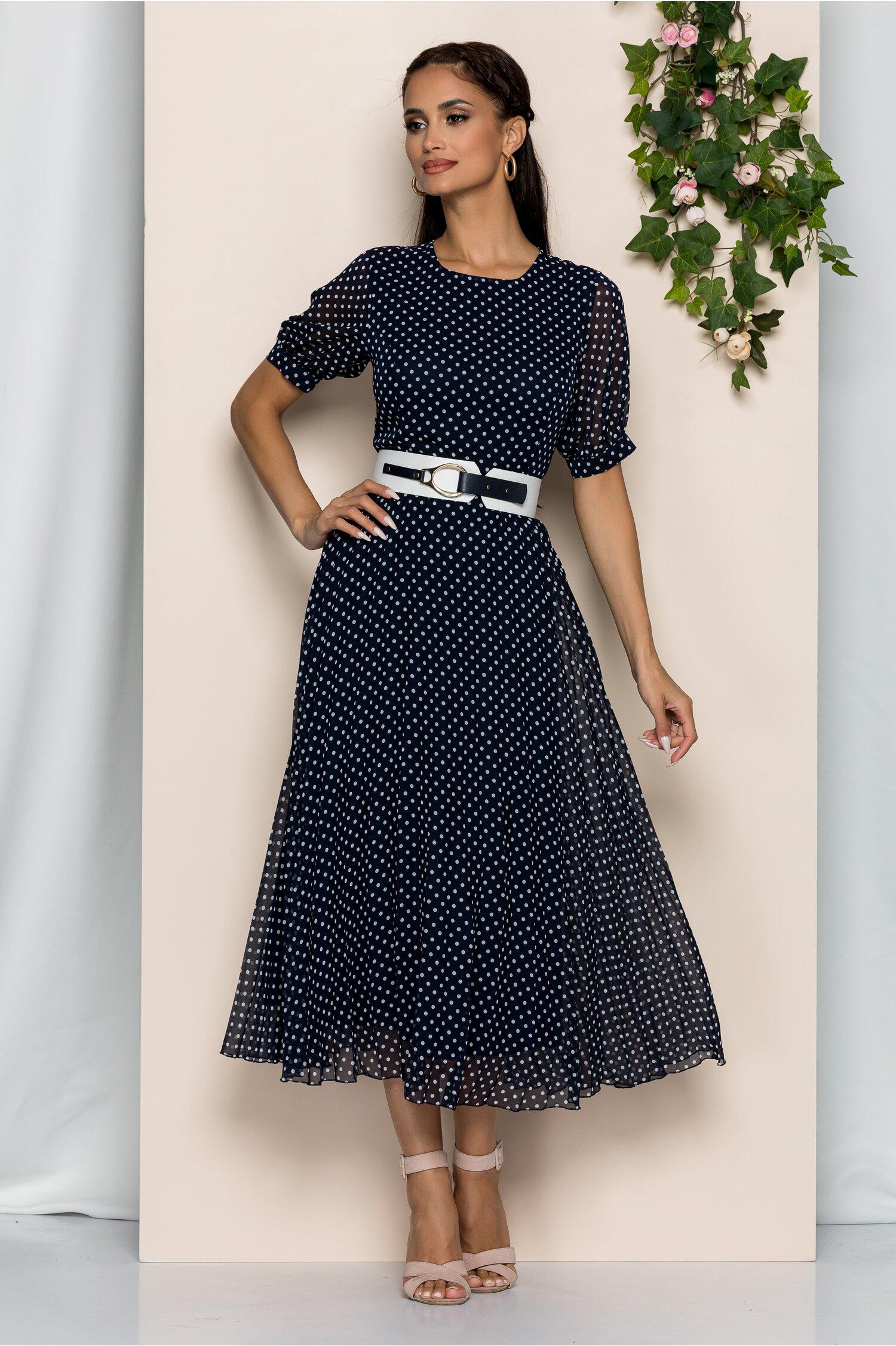 Rochie Marion bleumarin cu buline si pliuri pe fusta