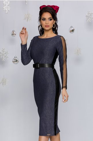Rochie Marisa albastra cu insertii negre din piele ecologica si tull