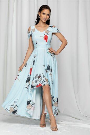 Rochie Marisa bleu asimetrica cu imprimeu floral