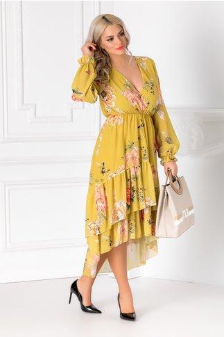 Rochie Marisa galbena cu imprimeu floral si decolteu petrecut
