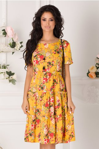 Rochie Marisa galbena cu imprimeuri florale