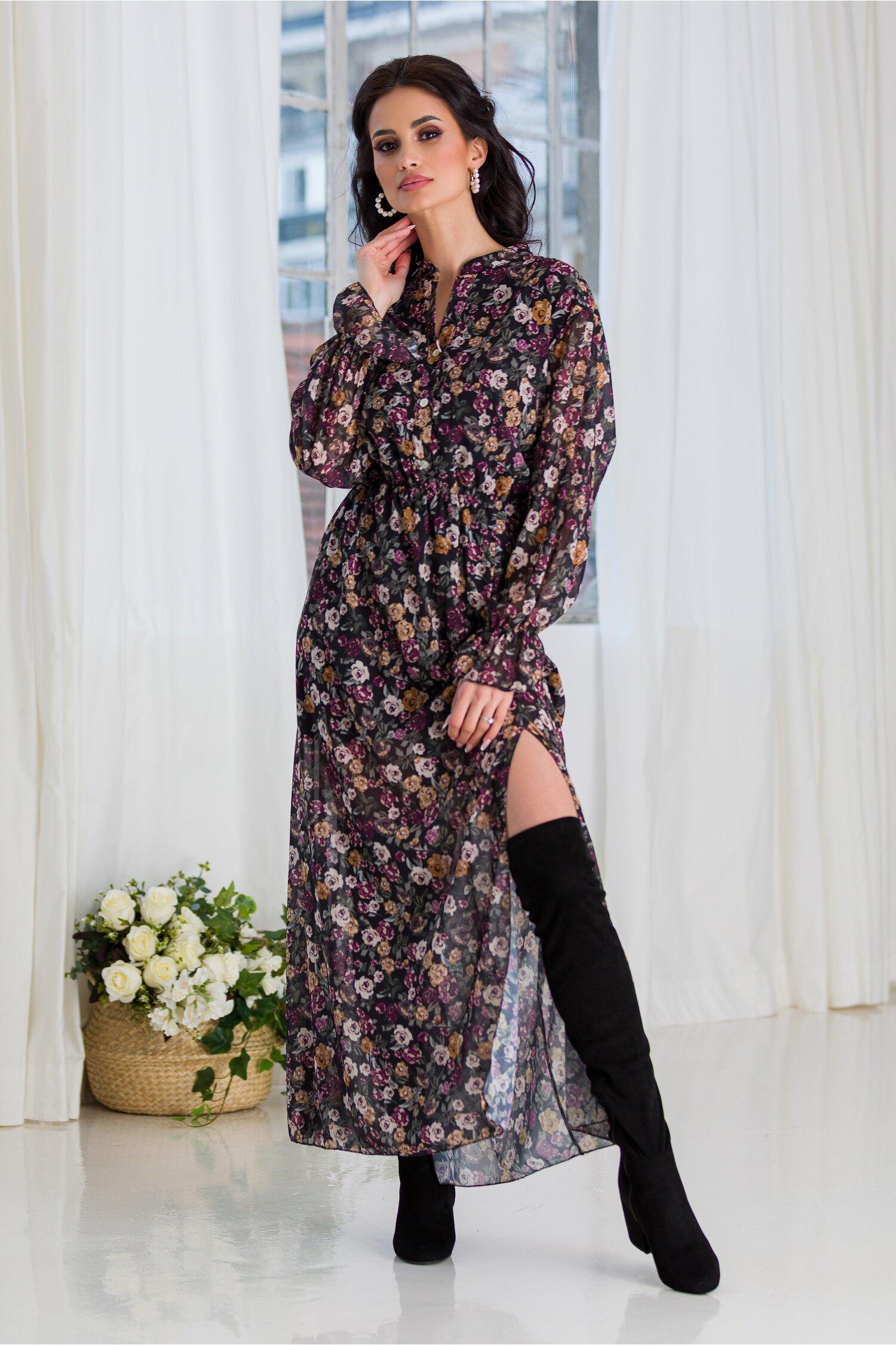Rochie Marisa lunga din voal cu imprimeu floral mov si verde